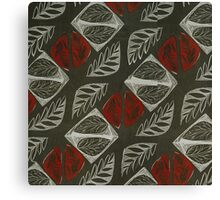 Vintage Floral Grey and Red Fabric Pattern Canvas Print