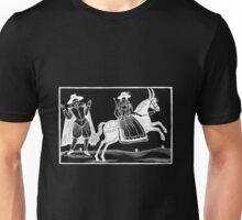 The Devil and the Maiden woodcut - White on Dark Unisex T-Shirt