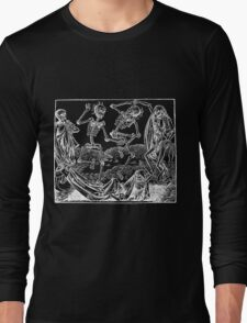 Medieval Dance of Death - Danse Macabre - White on Dark Long Sleeve T-Shirt