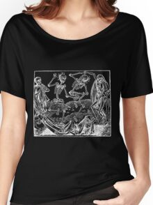 Medieval Dance of Death - Danse Macabre - White on Dark Women's Relaxed Fit T-Shirt