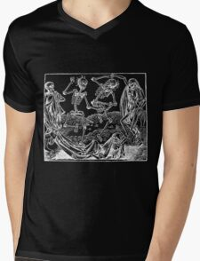 Medieval Dance of Death - Danse Macabre - White on Dark Mens V-Neck T-Shirt