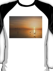 Wings at Sunrise - Toronto Skyline With Flying Geese T-Shirt