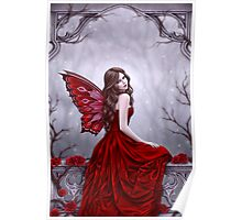 Winter Rose Butterfly Fairy Poster