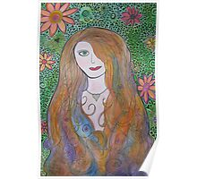 Mosaic Flower Girl Poster