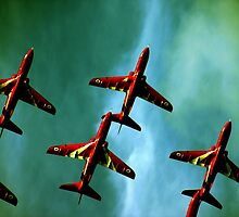 Red Arrows, Green Sky by simonsmith1