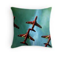 Red Arrows, Green Sky Throw Pillow