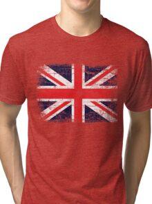 Vintage UK British Flag design Tri-blend T-Shirt
