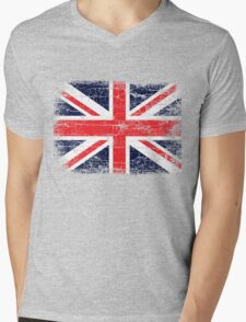 Vintage UK British Flag design Mens V-Neck T-Shirt