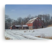 Old Red Barn and Sheds in the Snow Canvas Print