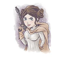 Star Wars Princess Leia Digital Watercolor Photographic Print