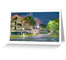 Modern Office Building at Night Greeting Card