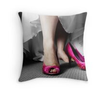 The pink shoes Throw Pillow
