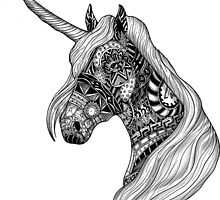 Unicorn Horse black and white ornate illustration by GinjaNinja1801