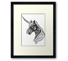 Unicorn Horse black and white ornate illustration Framed Print