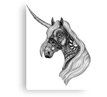 Unicorn Horse black and white ornate illustration Canvas Print