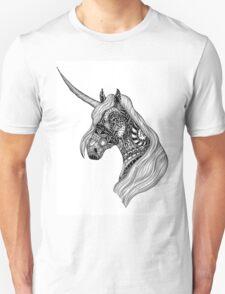 Unicorn Horse black and white ornate illustration T-Shirt