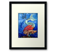 A Mermaids Mirror Framed Print