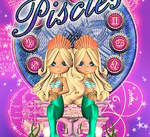 Pisces Zodiac Card With Moonies Cutie Pie by Moonlake
