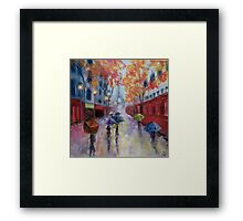 Red Train on a Rainy Day Framed Print