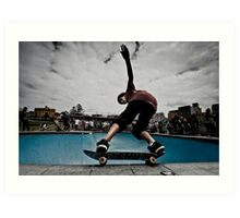 Skateboarder in Bondi Bowl Art Print