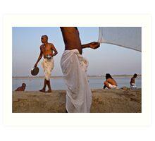 Pilgrims. Varanasi Art Print