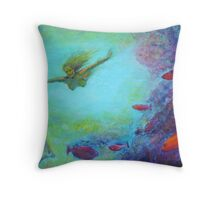 Diving on the Reef Throw Pillow