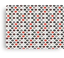 Red and Black Lips Pattern Canvas Print