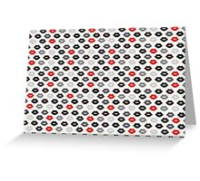 Red and Black Lips Pattern Greeting Card