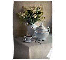 Still life with white tea set and bouquet of white flowers Poster