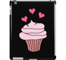 Cute Pink and Black Hearts Cupcake Pattern iPad Case/Skin