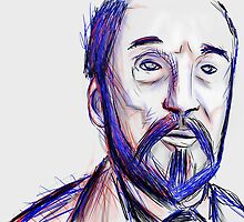 Bearded Old Man Made Of Red And Blue Lines by ruidaniel