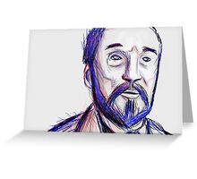Bearded Old Man Made Of Red And Blue Lines Greeting Card