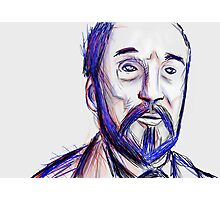 Bearded Old Man Made Of Red And Blue Lines Photographic Print