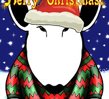 English Bull Terrier Christmas Card by Sookiesooker