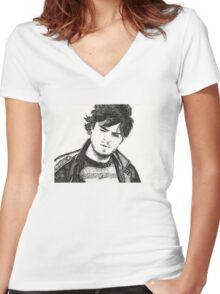 Illustration of Tom Burke Women's Fitted V-Neck T-Shirt
