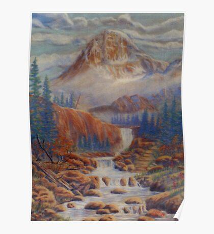 mountain streem -pastel chalk Poster