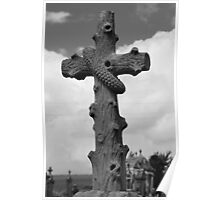 Unusual cross in graveyard, France, b&w Poster