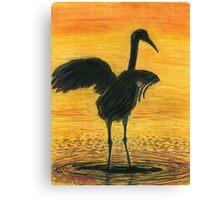 Crane Bathing In Gold Canvas Print