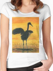 Crane Bathing In Gold Women's Fitted Scoop T-Shirt