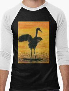 Crane Bathing In Gold Men's Baseball ¾ T-Shirt