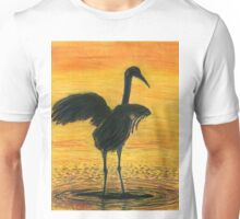 Crane Bathing In Gold Unisex T-Shirt