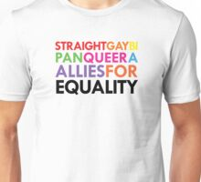 Straight, Gay, Bi, Pan, Queer, A - Allies For Equality Unisex T-Shirt