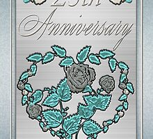25th Silver Wedding Card Silver And Metalic Blue by Moonlake
