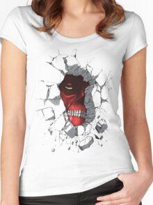 Red Peeking Monster Women's Fitted Scoop T-Shirt