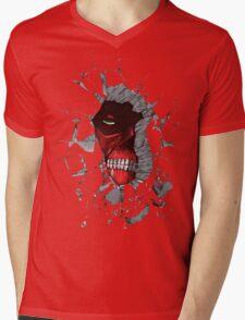 Red Peeking Monster Mens V-Neck T-Shirt