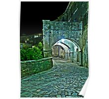Medieval Streets of an Italian Village at Night Poster
