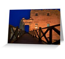 Bridge leading to abandoned castle Greeting Card