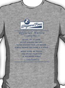 Wayward Pines - Official Notice City Rules T-Shirt