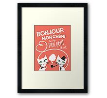 Bonjour Love Cat Print Framed Print