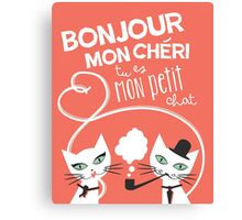 Bonjour Love Cat Print Canvas Print